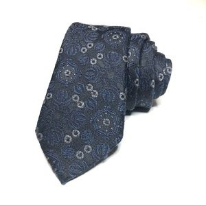 Dolce and Gabbana Navy Blue Floral Skinny Tie